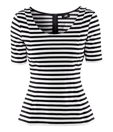 Top - pattern: horizontal stripes; style: t-shirt; secondary colour: white; predominant colour: black; occasions: casual, work; length: standard; neckline: scoop; fibres: cotton - stretch; fit: body skimming; sleeve length: short sleeve; sleeve style: standard; texture group: jersey - clingy; pattern type: fabric; pattern size: standard; season: a/w 2012; trends: monochrome