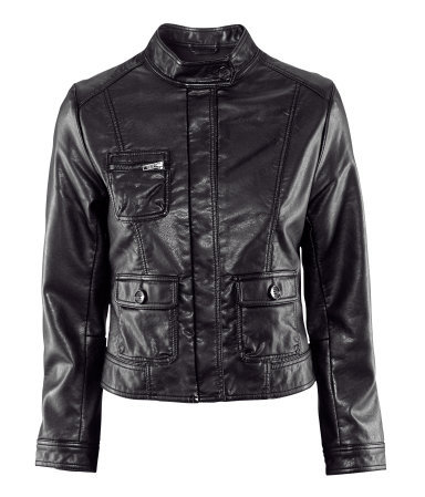 Jacket - pattern: plain; style: biker; bust detail: added detail/embellishment at bust; collar: round collar/collarless; predominant colour: black; occasions: casual; length: standard; fit: straight cut (boxy); fibres: polyester/polyamide - 100%; sleeve length: long sleeve; sleeve style: standard; texture group: leather; collar break: high; season: a/w 2012; hip detail: front pockets at hip
