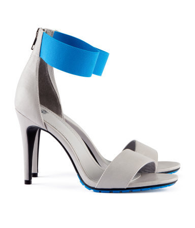 Sandals - predominant colour: light grey; occasions: evening, occasion; material: faux leather; heel height: high; ankle detail: ankle strap; heel: stiletto; toe: open toe/peeptoe; style: strappy; finish: plain; pattern: colourblock; season: a/w 2012