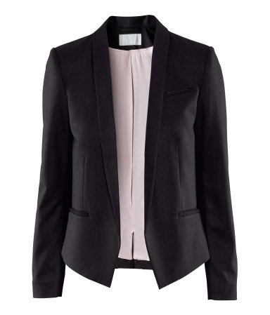 Jacket - pattern: plain; style: single breasted blazer; bust detail: added detail/embellishment at bust; collar: standard lapel/rever collar; predominant colour: black; occasions: casual, evening, work, occasion; length: standard; fit: straight cut (boxy); fibres: polyester/polyamide - mix; sleeve length: long sleeve; sleeve style: standard; trends: tuxedo; collar break: low/open; pattern type: fabric; pattern size: standard; texture group: other - light to midweight; season: a/w 2012
