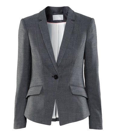 Jacket - pattern: plain; style: single breasted blazer; collar: standard lapel/rever collar; predominant colour: charcoal; occasions: casual, work; length: standard; fit: tailored/fitted; fibres: polyester/polyamide - mix; waist detail: fitted waist; bust detail: contrast pattern/fabric/detail at bust; sleeve length: long sleeve; sleeve style: standard; collar break: low/open; pattern type: fabric; texture group: other - light to midweight; season: a/w 2012; hip detail: front pockets at hip