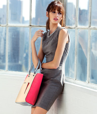 Dress - style: shift; length: mid thigh; fit: fitted at waist; pattern: plain; sleeve style: sleeveless; waist detail: fitted waist; predominant colour: charcoal; occasions: casual, evening, work; fibres: polyester/polyamide - mix; neckline: crew; sleeve length: sleeveless; pattern type: fabric; texture group: other - light to midweight; season: a/w 2012