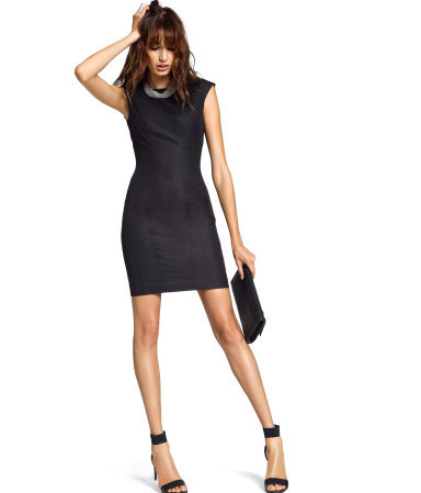 Dress - style: shift; length: mid thigh; fit: fitted at waist; pattern: plain; sleeve style: sleeveless; waist detail: fitted waist; predominant colour: black; occasions: evening; fibres: polyester/polyamide - mix; neckline: crew; sleeve length: sleeveless; pattern type: fabric; texture group: other - light to midweight; season: a/w 2012