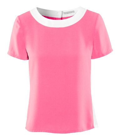 Blouse - neckline: slash/boat neckline; style: blouse; predominant colour: pink; occasions: casual, evening, work; length: standard; fibres: polyester/polyamide - 100%; fit: loose; bust detail: contrast pattern/fabric/detail at bust; sleeve length: short sleeve; sleeve style: standard; texture group: silky - light; trends: sporty redux; pattern type: fabric; pattern: colourblock; season: a/w 2012