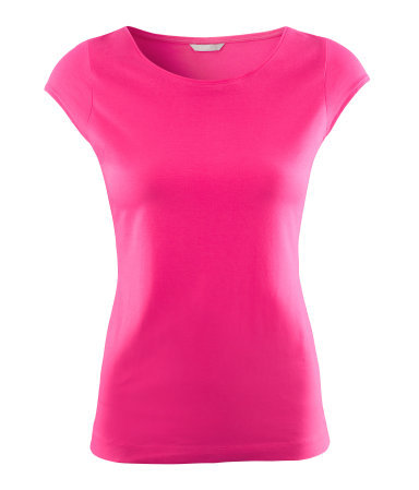 Top - neckline: round neck; sleeve style: capped; pattern: plain; style: t-shirt; hip detail: fitted at hip; predominant colour: hot pink; occasions: casual, work; length: standard; fibres: cotton - stretch; fit: body skimming; sleeve length: short sleeve; texture group: jersey - clingy; trends: fluorescent; pattern type: fabric; pattern size: standard; season: a/w 2012