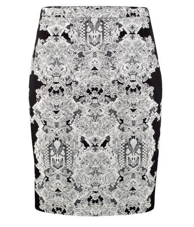 Pencil Skirt - length: mid thigh; style: pencil; fit: body skimming; waist: mid/regular rise; predominant colour: black; occasions: casual, evening, work, occasion, holiday; fibres: cotton - stretch; trends: statement prints, modern geometrics; pattern type: fabric; pattern: patterned/print; texture group: other - light to midweight; season: a/w 2012; pattern size: big & busy (bottom)