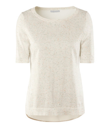 Jumper - neckline: round neck; pattern: plain; style: standard; predominant colour: ivory/cream; occasions: casual, evening, work, holiday; length: standard; fibres: cotton - 100%; fit: standard fit; back detail: longer hem at back than at front; sleeve length: short sleeve; sleeve style: standard; pattern type: knitted - fine stitch; pattern size: standard; texture group: jersey - stretchy/drapey; season: a/w 2012