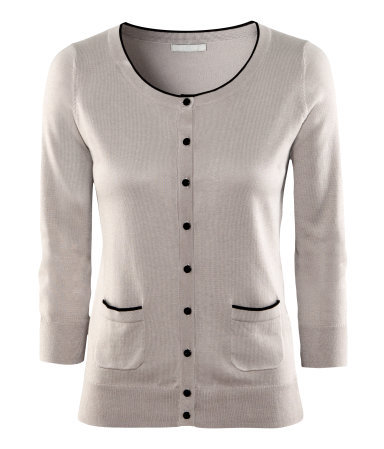 Cardigan - neckline: round neck; pattern: plain; predominant colour: light grey; occasions: casual, evening, work; length: standard; style: standard; fibres: cotton - mix; fit: standard fit; waist detail: front pockets at waist level; sleeve length: 3/4 length; sleeve style: standard; texture group: knits/crochet; pattern type: knitted - other; pattern size: light/subtle; season: a/w 2012