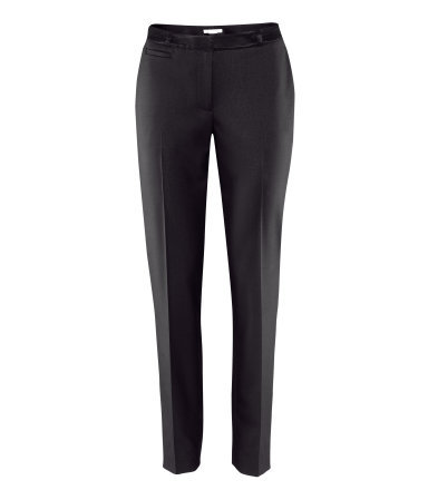 Trousers - length: standard; pattern: plain; pocket detail: small back pockets, pockets at the sides, traditional 5 pocket; style: peg leg; waist: mid/regular rise; predominant colour: black; occasions: casual, evening, work; fibres: polyester/polyamide - mix; waist detail: feature waist detail; fit: slim leg; pattern type: fabric; texture group: other - light to midweight; season: a/w 2012; pattern size: standard (bottom)