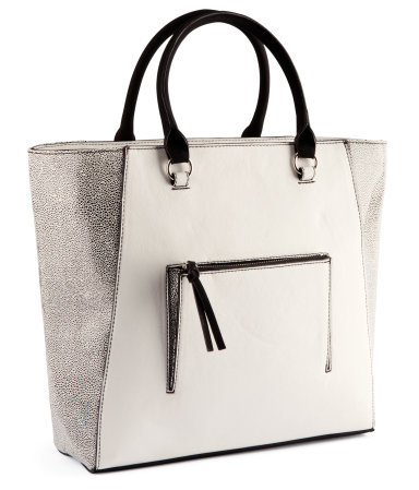 Bag - predominant colour: white; occasions: casual, work, holiday; type of pattern: small; style: tote; length: handle; size: standard; material: faux leather; embellishment: tassels, zips; pattern: two-tone, colourblock; trends: metallics; finish: plain; season: a/w 2012