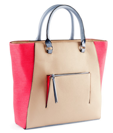 Bag - predominant colour: hot pink; occasions: casual, work, holiday; type of pattern: small; style: tote; length: handle; size: standard; material: faux leather; embellishment: tassels, zips; pattern: two-tone, colourblock; trends: fluorescent; finish: fluorescent; season: a/w 2012