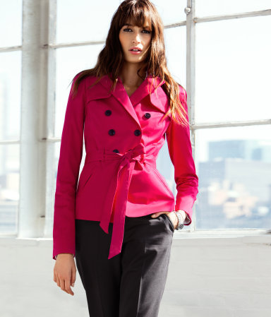 Jacket - pattern: plain; style: double breasted blazer; bust detail: added detail/embellishment at bust; collar: wide lapels; fit: slim fit; back detail: contrast pattern/fabric at back; predominant colour: hot pink; occasions: casual, work; length: standard; fibres: cotton - stretch; waist detail: belted waist/tie at waist/drawstring; sleeve length: long sleeve; sleeve style: standard; texture group: cotton feel fabrics; trends: fluorescent; collar break: medium; pattern type: fabric; season: a/w 2012; hip detail: front pockets at hip