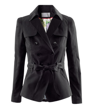 Jacket - pattern: plain; style: double breasted blazer; bust detail: added detail/embellishment at bust; collar: wide lapels; fit: slim fit; back detail: contrast pattern/fabric at back; predominant colour: black; occasions: casual, work; length: standard; fibres: cotton - mix; waist detail: belted waist/tie at waist/drawstring; sleeve length: long sleeve; sleeve style: standard; texture group: cotton feel fabrics; collar break: medium; pattern type: fabric; season: a/w 2012; hip detail: front pockets at hip
