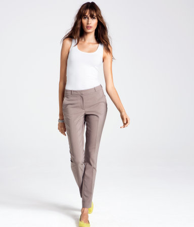 Trousers - length: standard; pattern: plain; waist: mid/regular rise; predominant colour: stone; occasions: casual, evening, work; fibres: cotton - mix; waist detail: narrow waistband; fit: slim leg; pattern type: fabric; texture group: other - light to midweight; style: standard; season: a/w 2012; pattern size: standard (bottom)