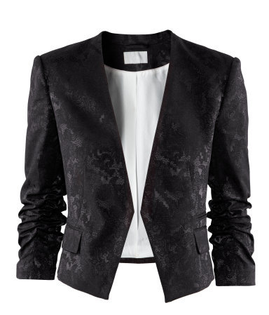 Jacket - style: cropped; collar: standard lapel/rever collar; predominant colour: black; occasions: casual, evening, work, occasion; length: standard; fit: tailored/fitted; fibres: polyester/polyamide - mix; sleeve length: 3/4 length; sleeve style: standard; collar break: low/open; pattern type: fabric; pattern size: standard; pattern: patterned/print; texture group: brocade/jacquard; season: a/w 2012