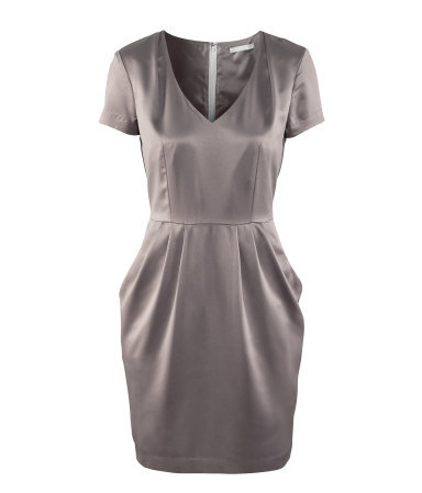 Dress - style: shift; neckline: low v-neck; fit: fitted at waist; pattern: plain; predominant colour: mid grey; occasions: evening, occasion; length: just above the knee; fibres: polyester/polyamide - 100%; shoulder detail: flat/draping pleats/ruching/gathering at shoulder; sleeve length: short sleeve; sleeve style: standard; texture group: structured shiny - satin/tafetta/silk etc.; pattern type: fabric; season: a/w 2012