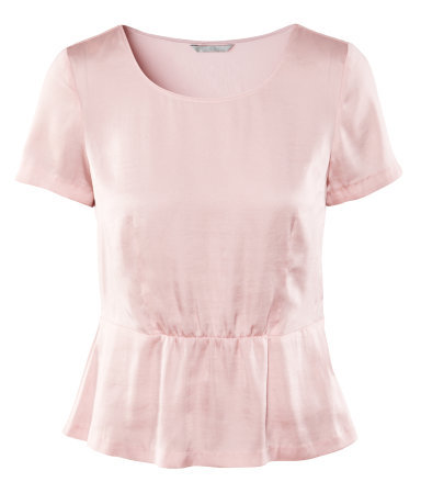 Top - neckline: round neck; pattern: plain; waist detail: peplum waist detail; predominant colour: blush; occasions: casual, evening, work; length: standard; style: top; fibres: polyester/polyamide - 100%; fit: body skimming; sleeve length: short sleeve; sleeve style: standard; texture group: structured shiny - satin/tafetta/silk etc.; pattern type: fabric; pattern size: standard; season: a/w 2012