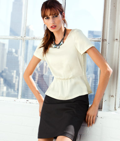 Top - neckline: round neck; pattern: plain; waist detail: peplum waist detail; predominant colour: white; occasions: casual, evening, work, occasion; length: standard; style: top; fibres: polyester/polyamide - 100%; fit: body skimming; sleeve length: short sleeve; sleeve style: standard; texture group: silky - light; pattern type: fabric; pattern size: standard; season: a/w 2012