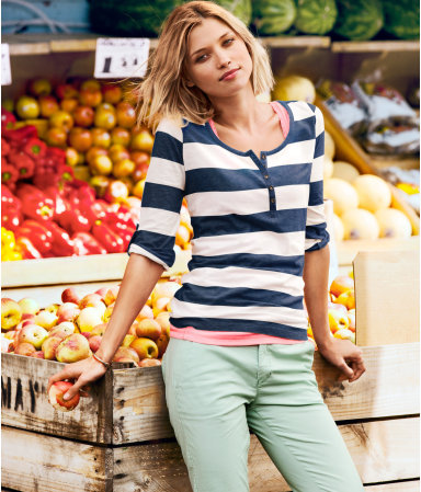 Top - neckline: round neck; pattern: horizontal stripes; bust detail: buttons at bust (in middle at breastbone)/zip detail at bust; predominant colour: navy; occasions: casual, work; length: standard; style: top; fibres: cotton - mix; fit: body skimming; sleeve length: 3/4 length; sleeve style: standard; texture group: jersey - clingy; pattern type: fabric; season: a/w 2012; pattern size: big & busy (top)