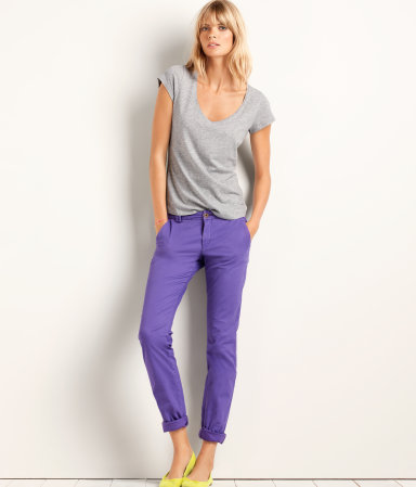 Trousers - pattern: plain; waist detail: fitted waist; pocket detail: small back pockets, pockets at the sides; waist: mid/regular rise; predominant colour: lilac; occasions: casual, evening, work, holiday; length: ankle length; style: chino; fibres: cotton - stretch; hip detail: fitted at hip (bottoms); jeans & bottoms detail: turn ups; fit: straight leg; pattern type: fabric; texture group: other - light to midweight; season: a/w 2012; pattern size: standard (bottom)