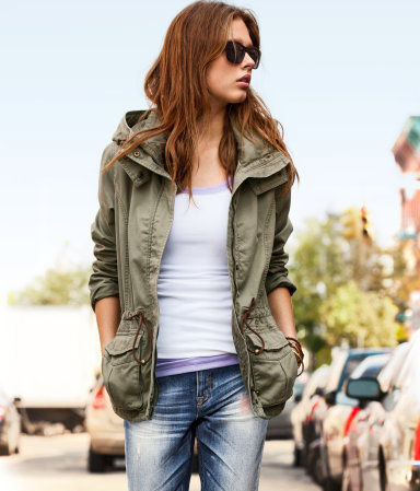 Jacket - pattern: plain; style: belted jacket; bust detail: added detail/embellishment at bust; fit: loose; length: below the bottom; back detail: hood; predominant colour: khaki; occasions: casual; fibres: cotton - 100%; collar: shirt collar/peter pan/zip with opening; waist detail: belted waist/tie at waist/drawstring; sleeve length: long sleeve; sleeve style: standard; texture group: cotton feel fabrics; collar break: high/illusion of break when open; pattern type: fabric; season: a/w 2012; hip detail: front pockets at hip