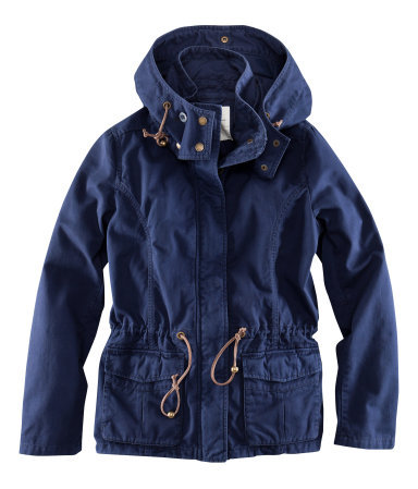 Jacket - pattern: plain; length: below the bottom; collar: funnel; fit: loose; style: parka; back detail: hood; predominant colour: navy; occasions: casual; fibres: cotton - 100%; waist detail: belted waist/tie at waist/drawstring; sleeve length: long sleeve; sleeve style: standard; texture group: cotton feel fabrics; collar break: high/illusion of break when open; pattern type: fabric; season: a/w 2012; hip detail: front pockets at hip