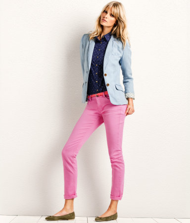 Trousers - pattern: plain; waist: low rise; pocket detail: traditional 5 pocket; predominant colour: pink; occasions: casual, holiday; length: ankle length; fibres: cotton - stretch; hip detail: fitted at hip (bottoms); jeans & bottoms detail: turn ups; texture group: cotton feel fabrics; fit: slim leg; pattern type: fabric; style: standard; season: a/w 2012