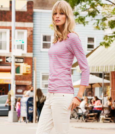 Top - neckline: round neck; pattern: horizontal stripes, striped; predominant colour: pink; occasions: casual; length: standard; style: top; fibres: cotton - mix; fit: body skimming; shoulder detail: added shoulder detail; sleeve length: 3/4 length; sleeve style: standard; trends: striking stripes; pattern type: fabric; pattern size: standard; texture group: jersey - stretchy/drapey; season: a/w 2012