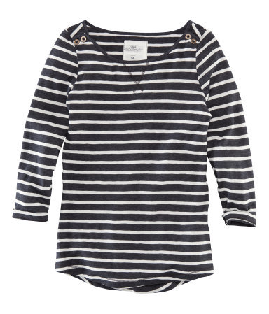 Top - neckline: round neck; pattern: horizontal stripes; style: t-shirt; predominant colour: charcoal; occasions: casual, holiday; length: standard; fibres: cotton - stretch; fit: body skimming; hip detail: dip hem; shoulder detail: added shoulder detail; back detail: longer hem at back than at front; sleeve length: 3/4 length; sleeve style: standard; texture group: jersey - clingy; pattern type: fabric; pattern size: standard; season: a/w 2012