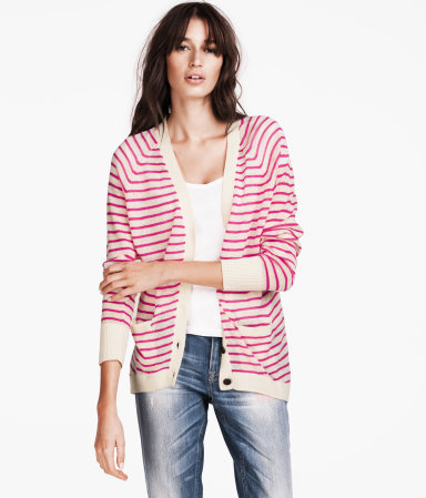 Cardigan - neckline: low v-neck; pattern: horizontal stripes; length: below the bottom; predominant colour: stone; occasions: casual; style: standard; fibres: linen - mix; fit: loose; sleeve length: long sleeve; sleeve style: standard; texture group: knits/crochet; trends: striking stripes; pattern type: knitted - other; pattern size: standard; season: a/w 2012