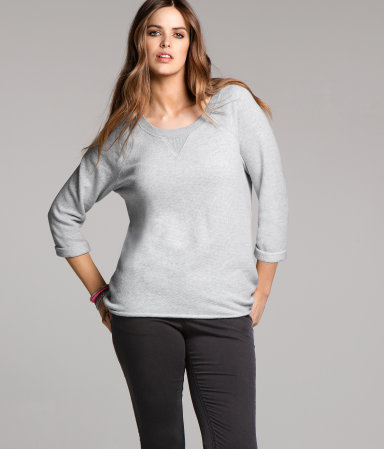 + Top - pattern: plain; predominant colour: light grey; occasions: casual; length: standard; style: top; neckline: scoop; fibres: cotton - mix; fit: body skimming; sleeve length: long sleeve; sleeve style: standard; pattern type: fabric; pattern size: standard; texture group: jersey - stretchy/drapey; season: a/w 2012