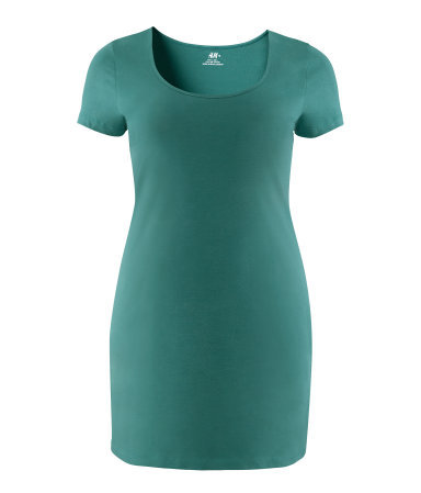 + Dress - style: t-shirt; length: mid thigh; fit: tight; pattern: plain; waist detail: fitted waist; hip detail: fitted at hip; predominant colour: emerald green; occasions: casual; neckline: scoop; fibres: cotton - mix; sleeve length: short sleeve; sleeve style: standard; pattern type: fabric; texture group: jersey - stretchy/drapey; season: a/w 2012