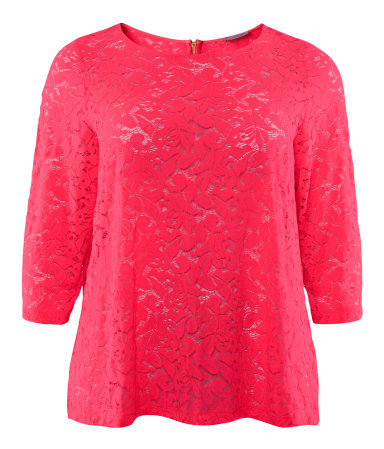 + Top - neckline: round neck; predominant colour: pink; occasions: casual, evening, work; length: standard; style: top; fibres: viscose/rayon - stretch; fit: body skimming; back detail: embellishment at back; sleeve length: 3/4 length; sleeve style: standard; texture group: lace; trends: fluorescent; pattern type: fabric; pattern size: standard; pattern: patterned/print; season: a/w 2012