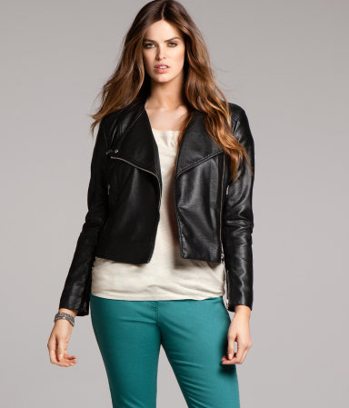 + Jacket - pattern: plain; style: biker; collar: asymmetric biker; fit: slim fit; predominant colour: black; occasions: casual; length: standard; fibres: polyester/polyamide - 100%; waist detail: fitted waist; sleeve length: long sleeve; sleeve style: standard; texture group: leather; collar break: high/illusion of break when open; pattern type: fabric; season: a/w 2012
