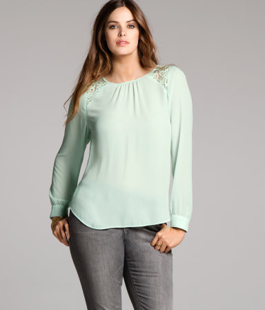 + Blouse - neckline: round neck; pattern: plain; style: blouse; shoulder detail: contrast pattern/fabric at shoulder; predominant colour: pistachio; occasions: casual; length: standard; fibres: polyester/polyamide - 100%; fit: body skimming; back detail: keyhole/peephole detail at back; sleeve length: long sleeve; sleeve style: standard; texture group: sheer fabrics/chiffon/organza etc.; pattern type: fabric; pattern size: light/subtle; season: a/w 2012