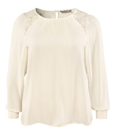 + Blouse - neckline: round neck; pattern: plain; style: blouse; shoulder detail: contrast pattern/fabric at shoulder; predominant colour: white; occasions: casual, evening, work; length: standard; fibres: polyester/polyamide - 100%; fit: body skimming; hip detail: soft pleats at hip/draping at hip/flared at hip; back detail: keyhole/peephole detail at back; sleeve length: long sleeve; sleeve style: standard; texture group: sheer fabrics/chiffon/organza etc.; pattern type: fabric; pattern size: light/subtle; season: a/w 2012