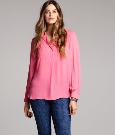 + Blouse - neckline: mandarin; pattern: plain; style: blouse; predominant colour: pink; occasions: casual, work; length: standard; fibres: polyester/polyamide - 100%; fit: straight cut; sleeve length: long sleeve; sleeve style: standard; texture group: sheer fabrics/chiffon/organza etc.; pattern type: fabric; pattern size: standard; season: a/w 2012