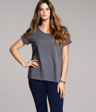 + Top - pattern: plain; style: t-shirt; predominant colour: charcoal; occasions: casual; length: standard; neckline: scoop; fibres: cotton - mix; fit: loose; sleeve length: short sleeve; sleeve style: standard; pattern type: fabric; pattern size: standard; texture group: jersey - stretchy/drapey; season: a/w 2012