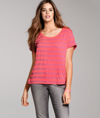 + Top - neckline: round neck; pattern: horizontal stripes; style: t-shirt; predominant colour: pink; occasions: casual; length: standard; fibres: polyester/polyamide - mix; fit: loose; sleeve length: short sleeve; sleeve style: standard; texture group: jersey - clingy; pattern type: fabric; pattern size: light/subtle; season: a/w 2012
