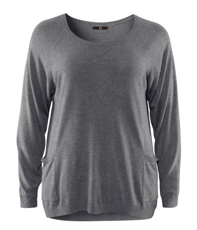 + Jumper - neckline: round neck; pattern: plain; hip detail: side pockets at hip; style: standard; predominant colour: mid grey; occasions: casual, work; length: standard; fibres: cotton - mix; fit: loose; sleeve length: long sleeve; sleeve style: standard; texture group: knits/crochet; pattern type: fabric; pattern size: standard; season: a/w 2012