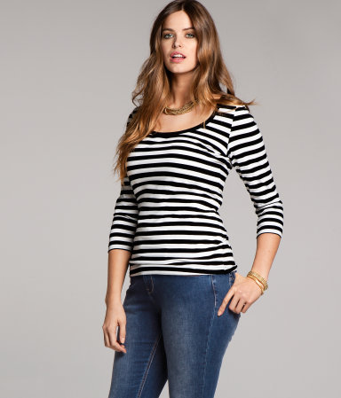+ Top - pattern: horizontal stripes; predominant colour: black; occasions: casual, work; length: standard; style: top; neckline: scoop; fibres: cotton - stretch; fit: body skimming; sleeve length: 3/4 length; sleeve style: standard; texture group: jersey - clingy; pattern type: fabric; pattern size: standard; season: a/w 2012