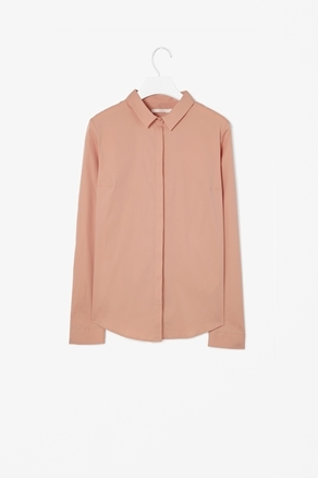 Slim Fit Shirt - neckline: shirt collar/peter pan/zip with opening; pattern: plain; style: shirt; predominant colour: nude; occasions: casual, evening, work; length: standard; fibres: cotton - mix; fit: loose; sleeve length: long sleeve; sleeve style: standard; texture group: crepes; pattern type: fabric; pattern size: standard; season: a/w 2012