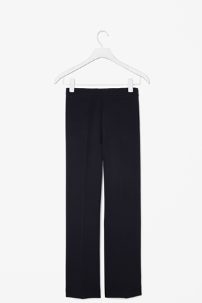 Crepe Wide Leg Trousers - length: standard; pattern: plain; pocket detail: small back pockets, pockets at the sides; waist: mid/regular rise; predominant colour: black; occasions: casual, evening, work; fibres: polyester/polyamide - stretch; hip detail: fitted at hip (bottoms); texture group: crepes; fit: wide leg; style: standard; season: a/w 2012