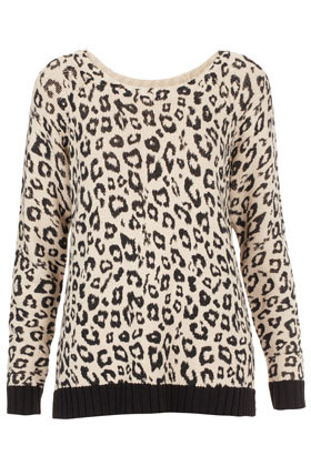 Knitted Leopard Print Sweater - neckline: round neck; style: standard; predominant colour: ivory/cream; occasions: casual; length: standard; fibres: cotton - mix; fit: standard fit; sleeve length: long sleeve; sleeve style: standard; texture group: knits/crochet; trends: statement prints; pattern type: knitted - other; pattern: animal print; season: a/w 2012; pattern size: big & busy (top)