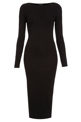 Plain Midi Bodycon Dress - length: below the knee; neckline: slash/boat neckline; fit: tight; pattern: plain; style: bodycon; waist detail: fitted waist; hip detail: fitted at hip; predominant colour: black; occasions: casual, evening; fibres: polyester/polyamide - stretch; sleeve length: long sleeve; sleeve style: standard; pattern type: fabric; texture group: jersey - stretchy/drapey; season: a/w 2012