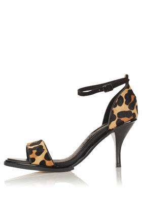 Newbie Mid Heel 2 Part Sandals - predominant colour: black; material: animal skin; heel height: mid; embellishment: buckles; ankle detail: ankle strap; heel: stiletto; toe: open toe/peeptoe; style: standard; finish: plain; pattern: animal print; occasions: creative work; season: a/w 2012