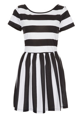 Petite Stripe Band Back Dress - style: shift; length: mid thigh; neckline: round neck; pattern: striped; waist detail: fitted waist; back detail: back revealing; shoulder detail: contrast pattern/fabric at shoulder; predominant colour: black; occasions: casual, evening; fit: soft a-line; fibres: cotton - 100%; hip detail: subtle/flattering hip detail; bust detail: contrast pattern/fabric/detail at bust; sleeve length: short sleeve; sleeve style: standard; texture group: cotton feel fabrics; pattern type: fabric; pattern size: big & busy; season: a/w 2012