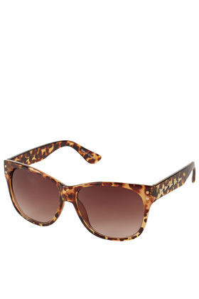 Chevron Inlay Flat Top Sunglasses - predominant colour: chocolate brown; occasions: casual; style: d frame; size: standard; material: plastic/rubber; pattern: tortoiseshell; finish: plain; season: a/w 2012