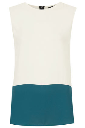 Sleeveless Colour Block Tunic - sleeve style: sleeveless; length: below the bottom; style: tunic; predominant colour: white; occasions: casual, work; fibres: polyester/polyamide - 100%; fit: straight cut; neckline: crew; hip detail: contrast fabric/print detail at hip; back detail: embellishment at back; sleeve length: sleeveless; pattern type: fabric; pattern size: standard; pattern: colourblock; season: a/w 2012