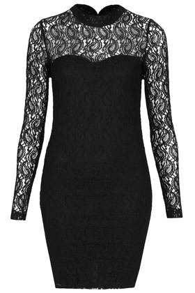 High Neck Paisley Bodycon - length: mid thigh; fit: tight; neckline: high neck; style: bodycon; shoulder detail: contrast pattern/fabric at shoulder; predominant colour: black; occasions: evening, occasion; fibres: polyester/polyamide - mix; bust detail: contrast pattern/fabric/detail at bust; back detail: keyhole/peephole detail at back; sleeve length: long sleeve; sleeve style: standard; texture group: lace; pattern type: fabric; pattern: patterned/print; season: a/w 2012